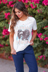 """Rock N Roll Forever"" Graphic Tee - Ivory womens trendy graphic tee closet candy front"