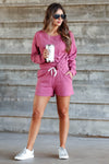 CBRAND At Peace Loungewear - Berry womens trendy loungewear closet candy front