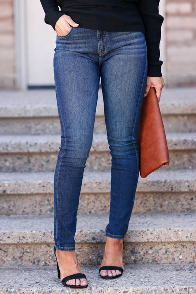 Riley High Rise Skinny Jeans - Dark Wash womens trendy high rise skinny jean closet candy front