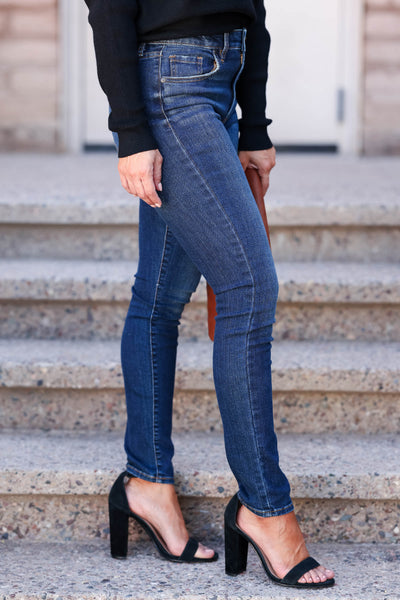 Riley High Rise Skinny Jeans - Dark Wash womens trendy high rise skinny jean closet candy side