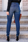 Riley High Rise Skinny Jeans - Dark Wash womens trendy high rise skinny jean closet candy back