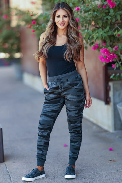 Choose Cozy Camo Joggers - Charcoal womens trendy fleece lined  adjustable drawstring joggers closet candy front 2