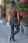 Choose Cozy Camo Joggers - Charcoal womens trendy fleece lined  adjustable drawstring joggers closet candy back