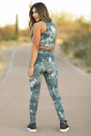 Early Riser Tie Dye Activewear - Nude & Forest Green  womens trendy two piece set closet candy back
