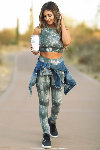 Early Riser Tie Dye Activewear - Nude & Forest Green  womens trendy two piece set closet candy front