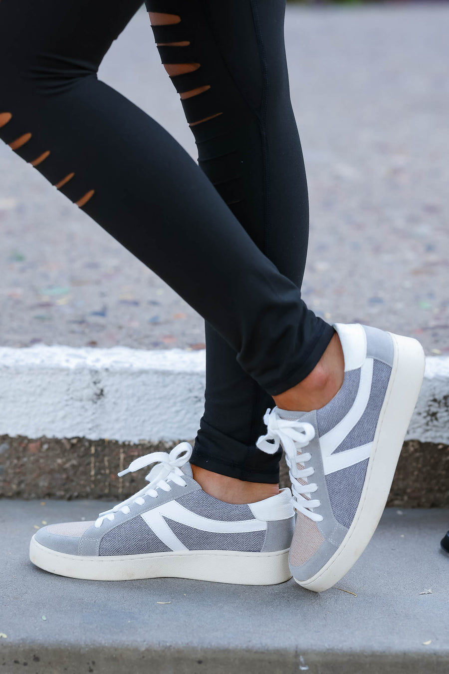 In Any Event Sneakers - Grey & Pink women trendy comfortable lace up sneakers closet candy front