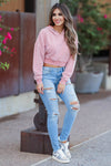 Carefree Days Cropped Sweatshirt - Dusty Pink womens trendy pink cropped sweatshirt closet candy side