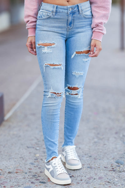 EUNINA Emery Distressed Skinny Jeans - Light Wash womens trendy light wash midrise distressed jean closet candy front 2