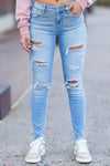 EUNINA Emery Distressed Skinny Jeans - Light Wash womens trendy light wash midrise distressed jean closet candy front