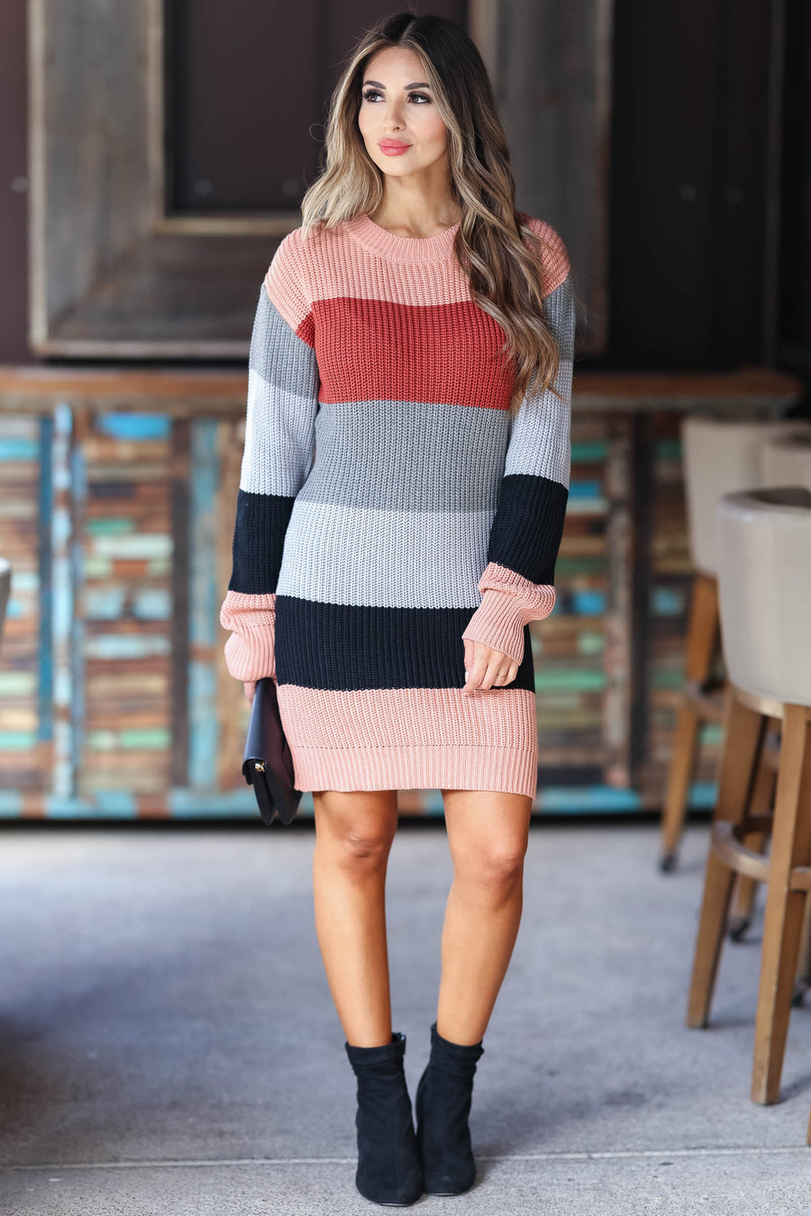 CBRAND Self Made Color Block Sweater Dress - Rose womens trendy round neckline knit dress closet candy front