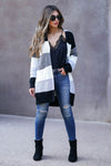 CBRAND Power Play Color Block Cardigan - Grey Multi womens trendy color block cardigan closet candy front