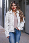 Last To Know Leopard Zip Up Jacket - Ivory womens trendy vegan fur jacket closet candy front