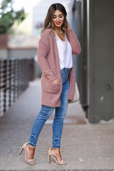 Fall With Me Popcorn Cardigan - Dusty Rose womens trendy fuzzy cardigan closet candy side