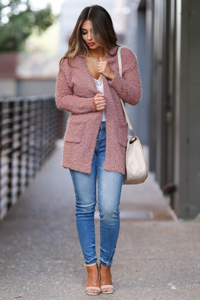 Fall With Me Popcorn Cardigan - Dusty Rose womens trendy fuzzy cardigan closet candy front 2