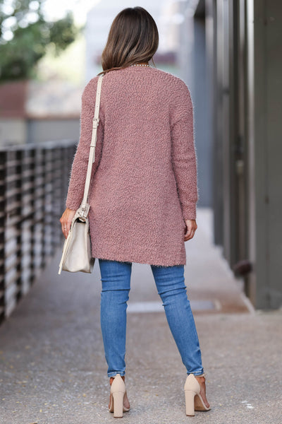 Fall With Me Popcorn Cardigan - Dusty Rose womens trendy fuzzy cardigan closet candy back