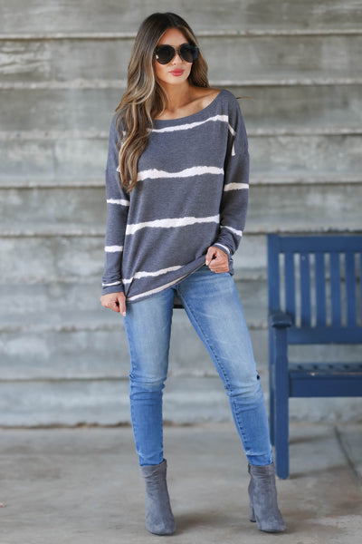 Sweet On Me Long Sleeve Top - Charcoal & Ivory womens trendy long sleeve boatneck top closet candy front