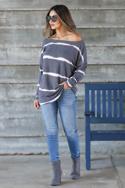 Sweet On Me Long Sleeve Top - Charcoal & Ivory womens trendy long sleeve boatneck top closet candy front 2