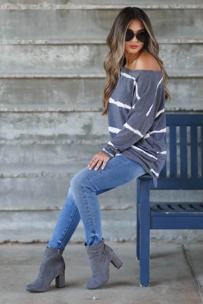 Sweet On Me Long Sleeve Top - Charcoal & Ivory womens trendy long sleeve boatneck top closet candy side