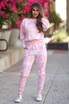 Hit The Road Tie Dye Lounge Set - Dreamsicle womens trendy tie dye loungewear closet candy front