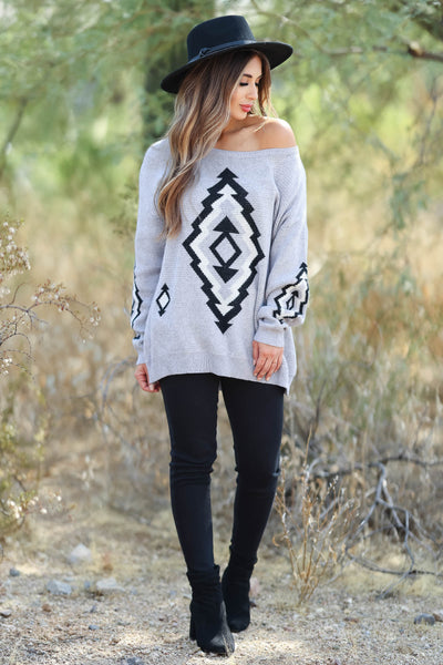 This Is It Aztec Sweater - Grey womens trendy  aztec print knit sweater closet candy front 2