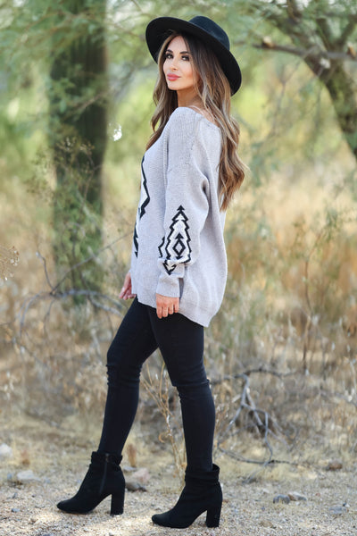 This Is It Aztec Sweater - Grey womens trendy  aztec print knit sweater closet candy side