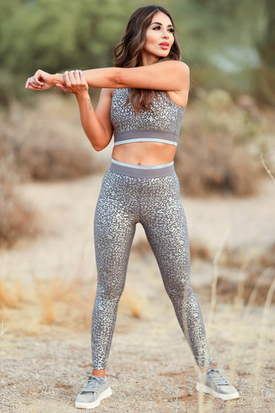 Smooth Move Activewear - Grey womens trendy leopard foil activewear closet candy front