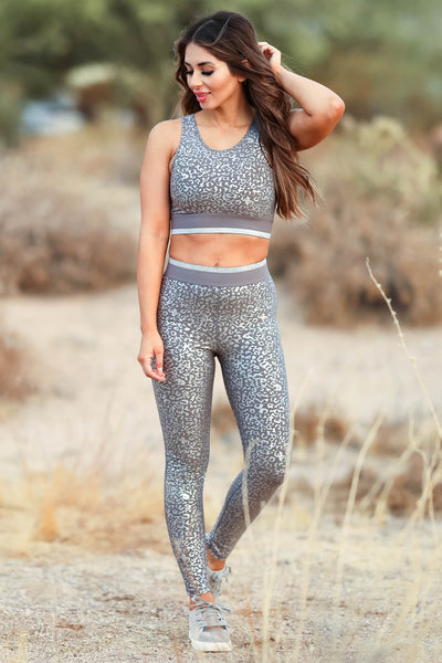 Smooth Move Activewear - Grey womens trendy leopard foil activewear closet candy front 2