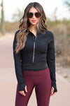 On A Run Cropped Activewear Jacket - Black