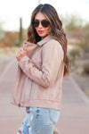MYSTREE Look Closer Vegan Jacket - Dusty Rose womens trendy vegan jacket closet candy side