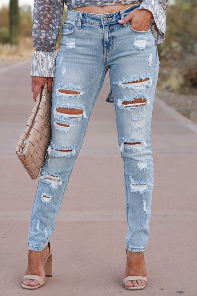 EUNINA Leah Distressed Skinny Jeans - Light Wash womens trendy light wash distressed jeans closet candy front