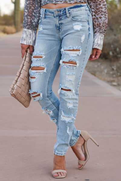 EUNINA Leah Distressed Skinny Jeans - Light Wash womens trendy light wash distressed jeans closet candy front 2
