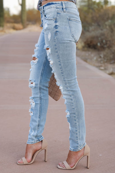 EUNINA Leah Distressed Skinny Jeans - Light Wash womens trendy light wash distressed jeans closet candy side