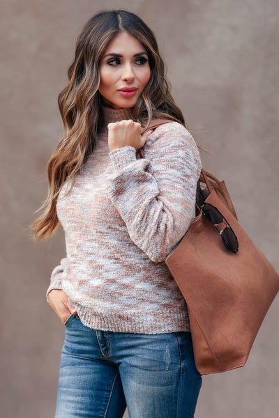 MYSTREE Temps Are Dropping Mock Neck Sweater - Blush womens trendy balloon sleeve like weathering color sweater closet candy close up