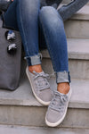 Liza Sneakers - Grey womens trendy lace up sneakers closet candy front