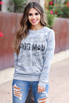 """Dog Mom"" Long Sleeve Graphic Tee - Blue Camo womens trendy  round neckline long sleeve graphic top closet candy close up"