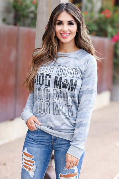 """Dog Mom"" Long Sleeve Graphic Tee - Blue Camo womens trendy  round neckline long sleeve graphic top closet candy close up 2"