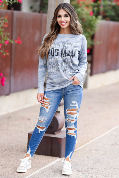 """Dog Mom"" Long Sleeve Graphic Tee - Blue Camo womens trendy  round neckline long sleeve graphic top closet candy front"