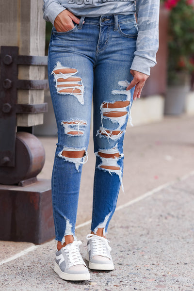 EUNINA Skye Distressed Jeans - Medium Wash women trendy distressed cropped length jeans closet candy front 2