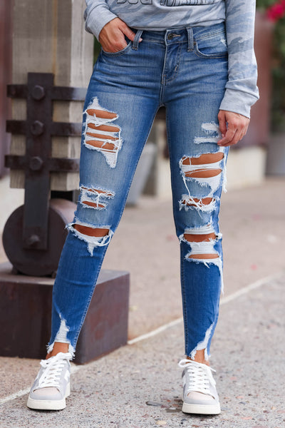 EUNINA Skye Distressed Jeans - Medium Wash women trendy distressed cropped length jeans closet candy front