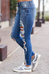 EUNINA Skye Distressed Jeans - Medium Wash women trendy distressed cropped length jeans closet candy side