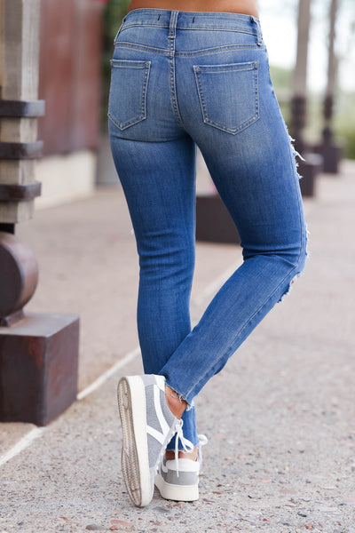 EUNINA Skye Distressed Jeans - Medium Wash women trendy distressed cropped length jeans closet candy back