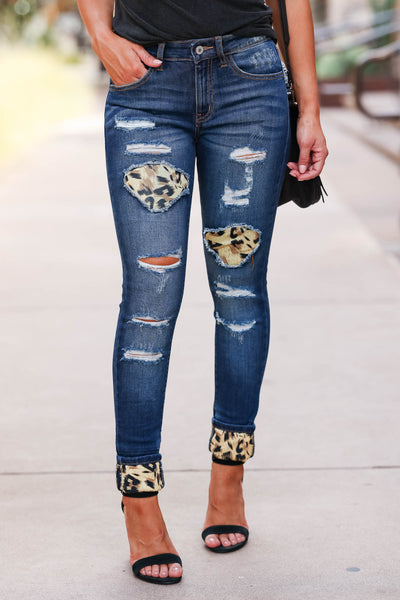 KAN CAN Distressed Leopard Skinny Jeans - Dark Wash womens trendy distressed skinny jeans with leopard patches closet candy front 2