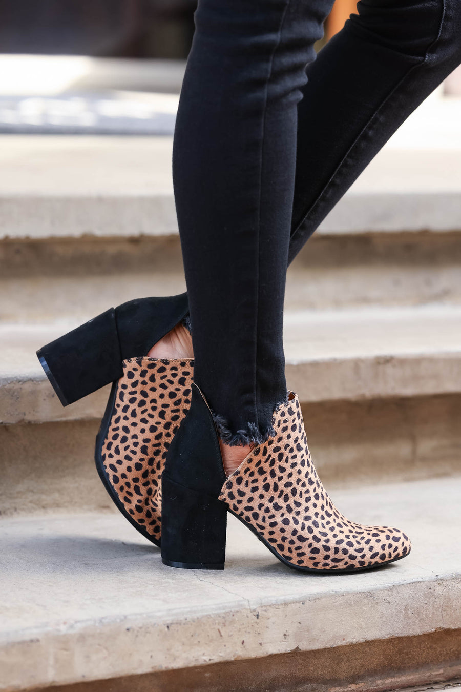 City Girl Booties - Leopard womens trendy vegan suede leopard block heel booties closet candy front