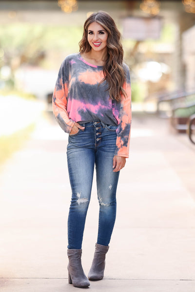 Long Road Ahead Top - Sunset womens pink and orange knit top closet candy front