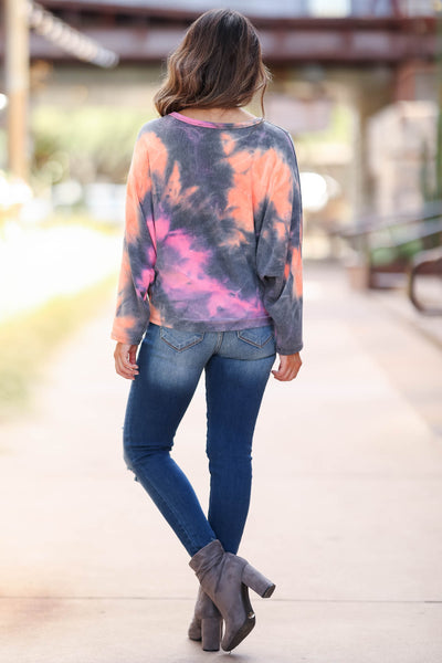Long Road Ahead Top - Sunset womens pink and orange knit top closet candy back