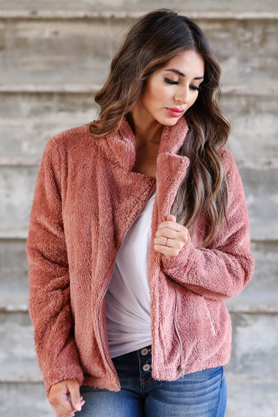Denver Days Vegan Fur Jacket - Dusty Rose closet candy womens outerwear 3