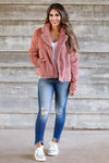 Denver Days Vegan Fur Jacket - Dusty Rose closet candy womens outerwear 4