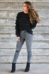 Fringe Benefits Sweater - Black women's knit pullover sweater featuring fringe detailing, round neckline, and ribbed trim closet candy front