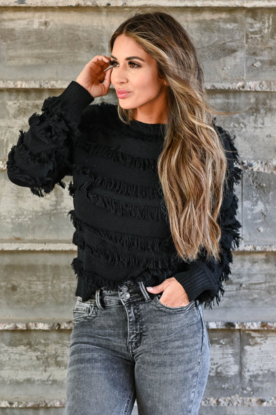 Fringe Benefits Sweater - Black women's knit pullover sweater featuring fringe detailing, round neckline, and ribbed trim closet candy close up