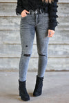 VERVET Valerie High Rise Raw Hem Skinny Jeans - Vintage Grey women's distressed skinny jeans with raw hem, classic 5-pocket design, and zipper fly with dual button closure. High-rise style. Distressing may vary closet candy front 2